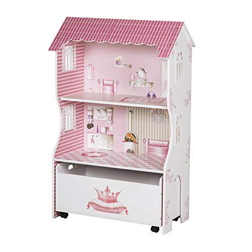 roba Puppenhaus und Spielregal für Ankleidepuppen inklusive Aufbewahrungsbox für Spielzeug, rosa