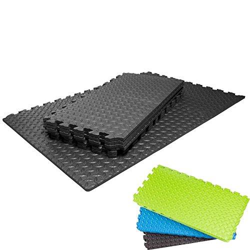 Schutzmatten Set von #DoYourFitness mit 18 Puzzlematten 6 Steckelementen á 30 x 30 x 1,2 cm (ca. 1,62m²) - Unterlegmatten / sicherer Bodenschutz für Sportgeräte, Gymnastikräume, Keller - Matten Schutz vor Kratzern, Dellen, Kälte, Lärm, Flüssigkeit / schwarz