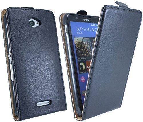 Klapptasche Schutztasche für Sony Xperia E4 (E2105) in Schwarz Tasche Hülle @ Energmix