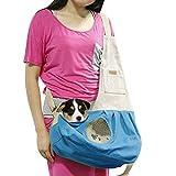 Hund Katze Tragetuch Schulter Tragetasche Welpen Haustier Tasche mit integriertem Haken Pet Travel Atmungsaktiv Baumwolle Leinwand verstellbar Haken Blau