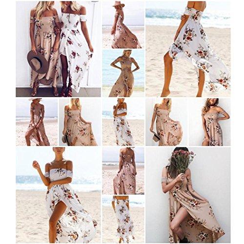 Mini-robe d'été Pour Femme,Tonwalk Boho Mousseline de soie Off Shoulder Beach Robe Kaki