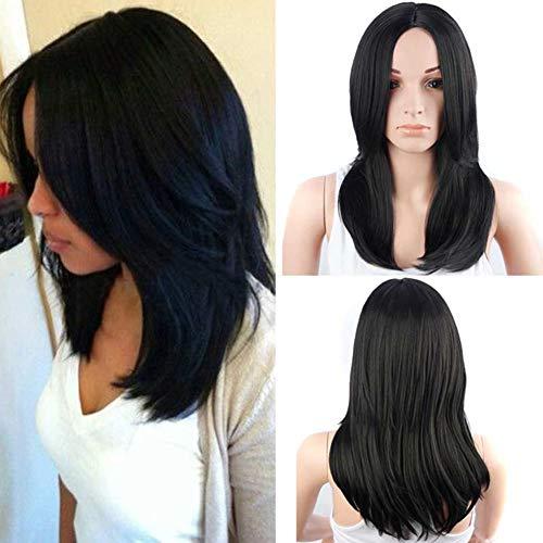 YANXS Perücke Frauen Mittellange Lange Glatte Haare Geschichtet Perücke für den Täglichen Gebrauch 20 Zoll, Schwarz (Girl Power Perücke)