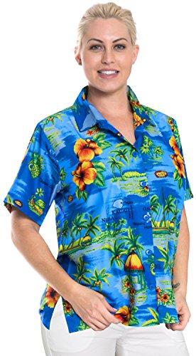 La Leela Hawaii Paradies Damen weichen likre Taste 3 nach unten in 1 Thema-Partei aloha kurze rmel Thema Casuals Urlaub Lounge Geschenk Bluse fit Top knigsblau hawaiische Hemd entspannt, Blau, XXL - DE Gre :- 50 - 52 (Damen Shirt Nach Taste Unten)