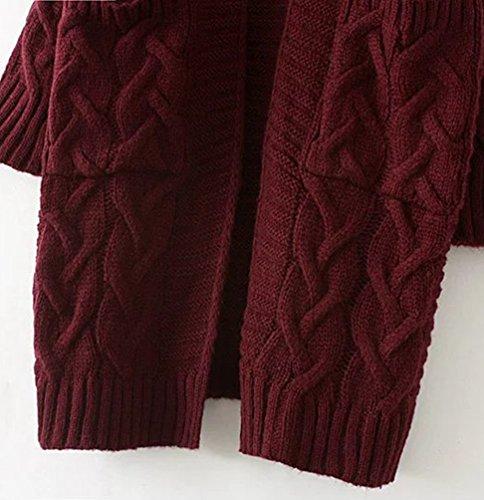 CHENGYANG Femme Long Cardigan en Maille Manches Longues Gilets Tricot Chandail Cardigans Vin Rouge