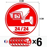Lot de 6 autocollants / stickers Vidéosurveillance / 6 cm