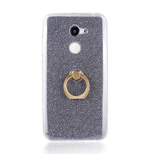 Luxus Bling Sparkle Style Case, Soft TPU [Silikon] Flexible Glitter Rückentasche mit Fingerring Stand für Alcatel A3 ( Color : Blue ) Black