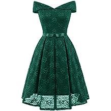 09ac42c4056b32 Misshow Damen Spitzenkleid Knielang Off Schulter mit Schleife Elegant  Cocktailkleid Ballkleid Abendmode