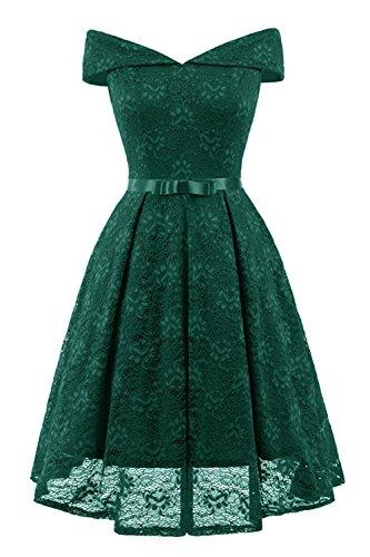 Misshow Abiballkleider Kurz Damen Kleid Dunkelgrün Prinzessin Rockabilly Swing Kleid Spitzenkleid
