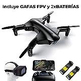 RCTecnic Drone con cámara HD 1280x720p, Incluye Batería EXTRA de Regalo y Gafas VR, Dron Plegable Wings Control de Altura muy estable 2.4 GHz WIFI Vídeo FPV 30Mbps Muy fácil de volar Autonomía 10 min