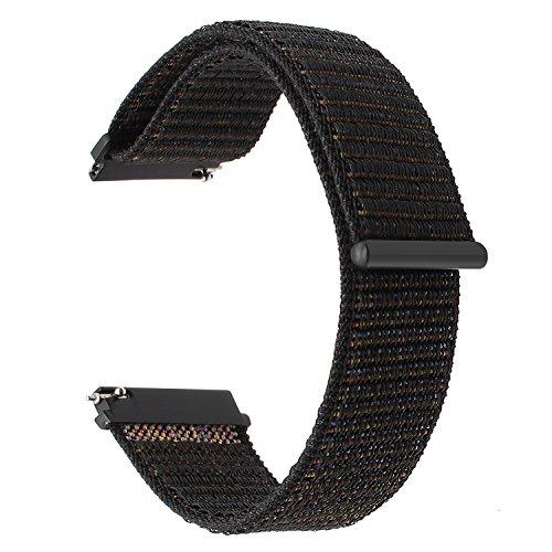 TRUMiRR Armband kompatibel mit Galaxy Watch Active/Galaxy Watch 42mm Armband, 20mm Schnellspanner Woven Nylon Uhrenarmband Leder Armband für Garmin Vivoactive 3, Samsung Galaxy Watch 42mm