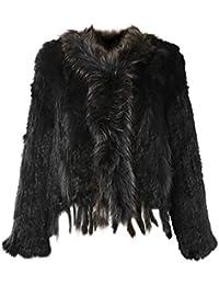 Glamexx24 Chaqueta, capa, conejo auténtica mujeres de piel de la mujer para el otoño y el reverso