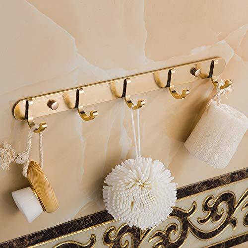 CYX 5 Haken Gold Kleiderhaken Einfache und Luxuriöse Europäischen Stil Badetuch Haken Bad Wandbehang Handtuchhaken Türhaken Geeignet Für Wohnzimmer Abstellraum Finishing Supplies -