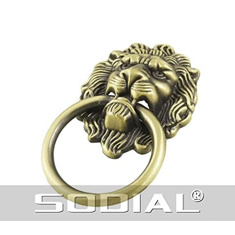 SODIAL(R) Antique Style Bronze Lion Head Design Drawer Ring Pull Handle Knob
