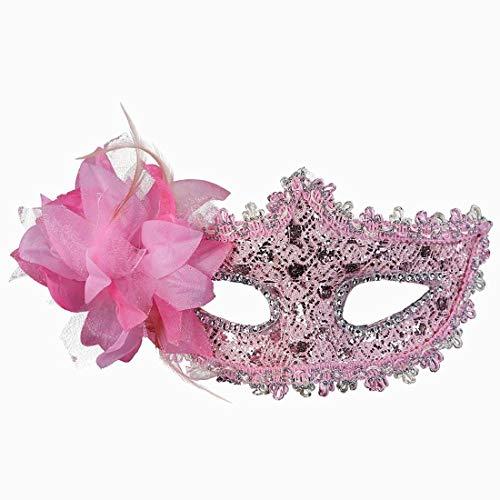 Xiton Frauen Venedig Sexy Spitzen-Maske mit Strass Kostüm Masquerade Maske für Karneval, anonyme venezianischen Karnevalsmaske und Tanz, Pink