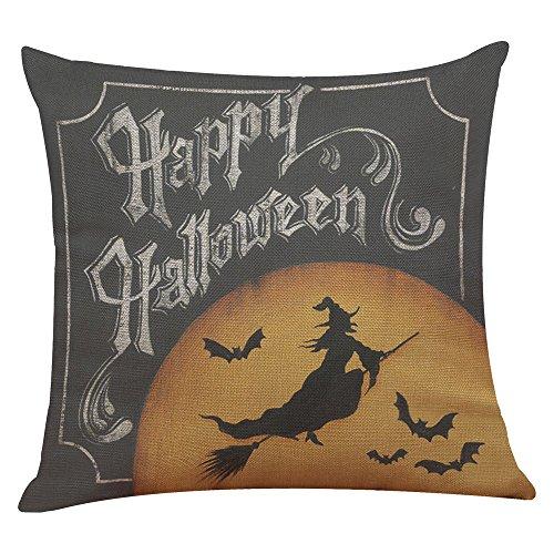 iYmitz Happy Halloween Leinen Dekokissen Fall Kissenbezug Home Sofa Decor (E1,45cmx45cm)
