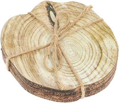 com-four® 4X Holz-Untersetzer für Getränke mit hochwertigem Aufdruck (04 Stück - Baumscheibenoptik) -