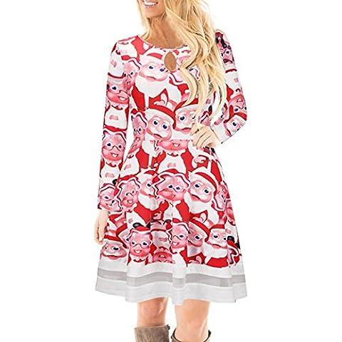 FORH Winter Damen Weihnachten Stil Santa Elch Gedruckt Lange Ärmel Spitze Kleid Niedlich Festlicher Spaß muster Swing Kleider (L, Red (Santa))