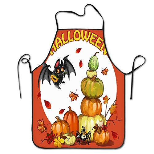 rwgfdgt Funny Personality Apron Halloween Set Pumpkin bat Spider Cute Hipster Chef Kitchen Aprons 20.4 * 28.3 inch (Halloween Pumpkins, Spider Mann)