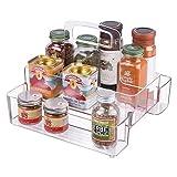 mDesign Küchen Organizer – praktische Aufbewahrungsbox für Küche und Speisekammer – cleveres Küchenzubehör aus beständigem Kunststoff – mehrere Fächer mit Griff – durchsichtig