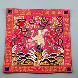 Generic Novelty Chinese Crane Pattern Dining Table Placemats Silk Fabric Square Waterproof non-slip Table Mat Embroidered protector Pad fuchsia