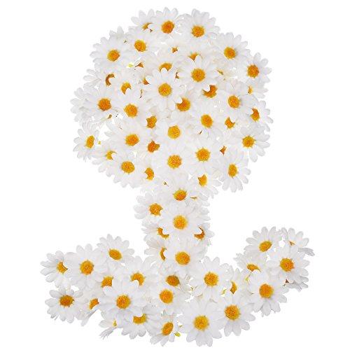 Willbond 100 pezzi bianco tessuto margherita teste fiori finti 4 cm artificiale margherite artigianali per pasqua cofano matrimonio festa decorazione