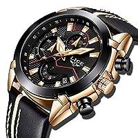 Relojes para Hombre Deportes Militar Reloj de Cuarzo Analógico Moda para Hombre Cronógrafo Impermeable Cuero Reloj Azul