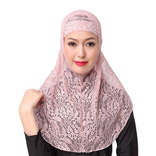 Hougood Hijab Kopftuch Muslim Hijab Schal für Damen Hijab Fertig Spitze Hijabs Schals Cape Frauen Wickeln Hijab Arabia Islam Turban Hijab Kopfbedeckung 2Pcs Sets Muslim Kopftuch + Hijab Untertuch Cap