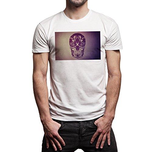 Skull With Shadow Background Herren T-Shirt Weiß
