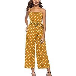 Yonglan Mujer Lunares Pierna Ancha Monos Largos Cabestro Sin Mangas Pantalones Siameses Jumpsuits Playsuits Amarillo S