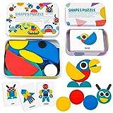 Coogam Blocchi di Motivi in Legno Tangram Forma Puzzle Set Color Sorting Stacking Gioco Legno Animale Puzzle Preschool Montessori Rompicapo Regalo STEM (60 Carte Modello)