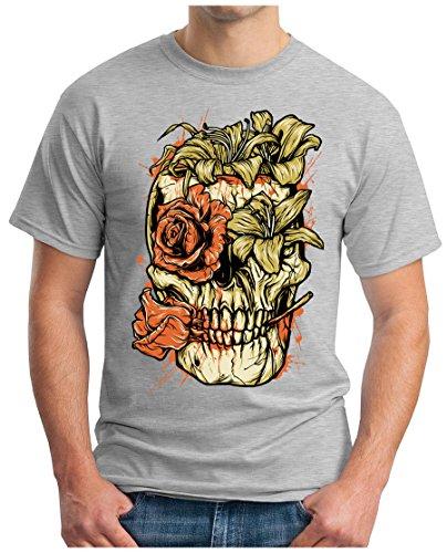 OM3 - SKULL-FLOWER - T-Shirt GEEK, S - 5XL Grau Meliert