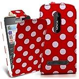 Accessory Master 5055716366815 polka dott Elegantes Ledertasche für Nokia Asha 210 rot/weiß preiswert