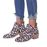 Stiefel Damen Leopardenprint Freizeitschuhe Frauen Round Toe Wildlederschuhe Flache Booties Lace Up Martin Stiefeletten ABsoar
