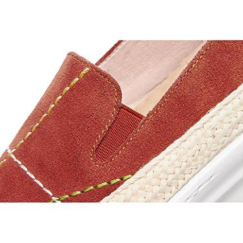 Chaussures à Plateformes Femme WSXY-A1418 Ville à Lacets Baskets Cuir Plateforme,KJJDE red