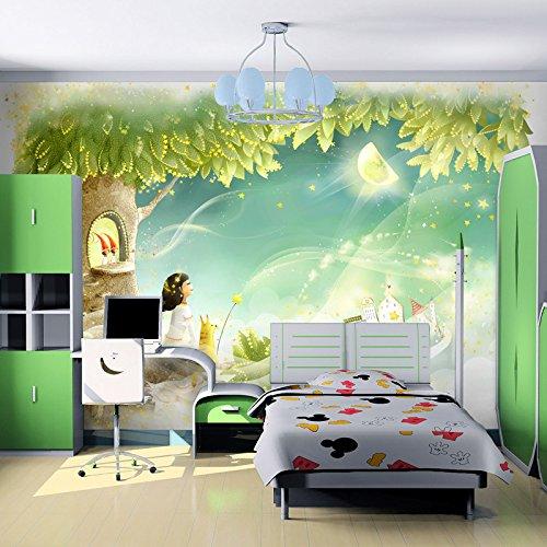 LHDLily 3D Tapete 3D Wallpaper Fresken Wandbilder Verdicken Custom Kinderzimmer Importiert Kinder Warme Schlafzimmer Cartoon Jungen Und Mädchen 150Cmx100Cm -