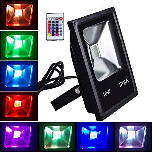 New LED Reflektor 10W RGB LED Flutlicht Wasserdichtes LED Outdoor Flutlicht, Fernbedienung, Dimmbar, Farbwechsel LED Sicherheitslicht für Aquarium, Bühne, Party, Weihnachten, Hallowee, 16 Farben könne -