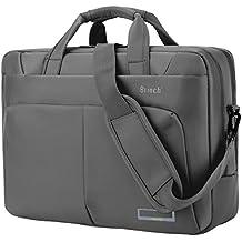 """Brinch, borsa per portatile da 15,6"""", borsa a tracolla elegante con manico per computer portatile e tablet, capiente, con molteplici scomparti, in nylon. Per computer portatili, notebook, MacBook e tablet da 15-15,6"""" grigio Grey 15;6"""