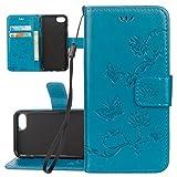 ISAKEN iPhone 6 6S Hülle, Folio PU Leder Flip Cover Geldbörse Wallet Case Ledertasche Handyhülle Tasche Schutzhülle mit Handschlaufe Strap für iPhone 6 6S 4.7 Zoll - Lotus Schmetterlinge Blau