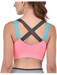58b5e9687c GLAMORAS Women s Padded Full Coverage Quick Dry Padded Cross Back Sports Bra  with Removable Soft Cups