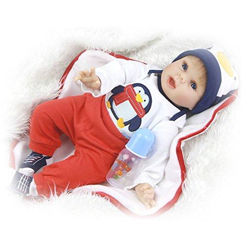 Buntes 22 '' Soft Silikon wiedergeboren Baby Puppen mit großen Mund gekleidet Pinguin Cloth Boy Baby Dolls Geburtstag Xmas Geschenk Urlaub Hochzeit Verringerung Angst helfen Autismus schwangere Frauen