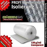 GREEN24 PRO3 Luftpolsterfolie Isolierfolie Noppenfolie, Premium Folie zum Winterschutz für Gewächshaus & Pflanzen....