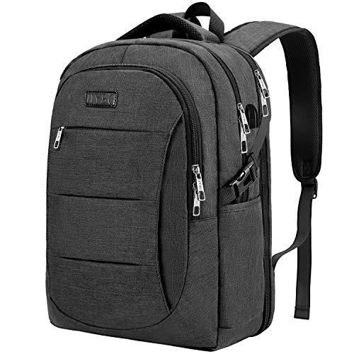 IIYBC Reiserucksack, Business-Laptop-Rucksack gegen Diebstahl mit USB-Ladeanschluss, College-Laptop-Tasche für Männer/Frauen, 15.6-Zoll-Laptop und Computer-Schwarz