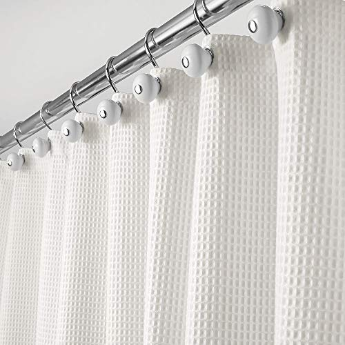 mDesign Rideau de Douche de en 65% Polyester et 35% Coton – Rideau de Douche Tissu Doux avec Motif Gaufre – Rideau Baignoire Facile à Nettoyer – Blanc