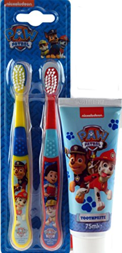 Paw Patrol Twin Toothbrush Pack And Toothpaste Kids Gift Set