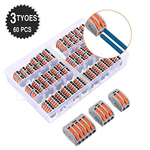 Charminer 60 Stück Hochwertiges Verbindungsklemme Set, 3 verschiedene Modell Draht Push Kabelverbinder, 2/3/5-Leiter Klemme, Kompakt Steckklemmen Set 2 Polig 20pcs, 3 Polig 30pcs,5 Polig 10pcs
