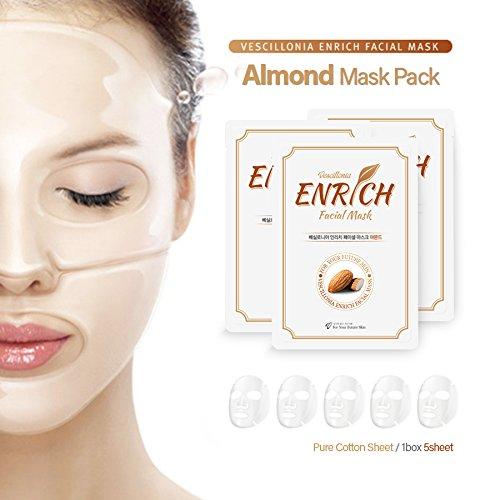 vescillonia-almond-5pcs-arricchisci-facciale-fogli-maschera-al-collagene-impacco-idratante-nutriente
