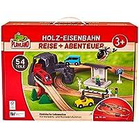 Batterie; Holzspielzeug;Spielzeug aus Holz; Eisenbahn Holzeisenbahn 80tlg.