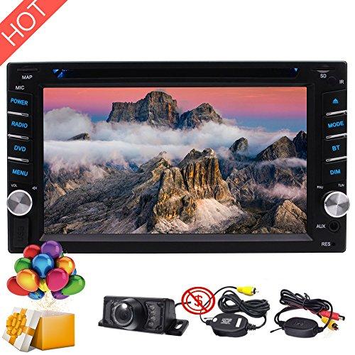 "2018 Neueste 6.2"" Zoll-Auto-Autoradio Stereo DVD CD-Player Radio AM FM Multimedia Bluetooth USB SD Steer Rad Bunten Knopf Es UI-Design-1080P Farben-Knopf + Wireless Backup-Kamera"