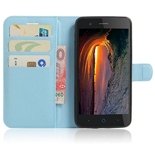 SMTR ZTE Blade A510 Wallet Tasche Hülle - Ledertasche im Bookstyle in Blau - [Ultra Slim][Card Slot][Handyhülle] Flip Wallet Case Etui für ZTE Blade A510