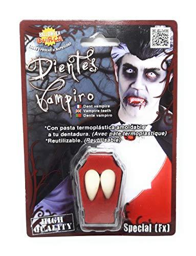val Fasching Vampir Zähne Eckzähne groß Unisex Blut Halloween weiß 2,5 cm ()